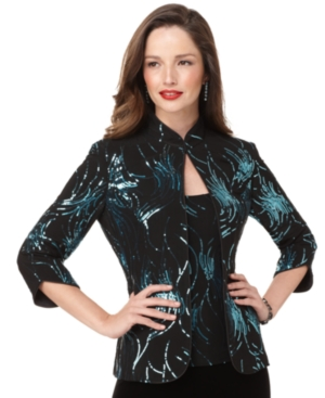 Alex Evenings Jacket and Cami, Three Quarter Sleeve Sequin