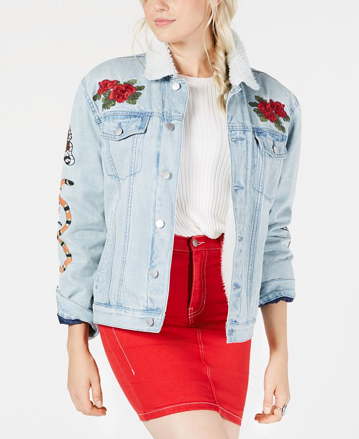 Kendall + Kylie - Embroidered Pile-Trim Trucker Jacket