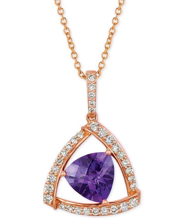"Le Vian - Amethyst (1-5/8 ct. t.w.) & Diamond (1/3 ct. t.w.) 18"" Pendant Necklace in 14k Rose Gold"