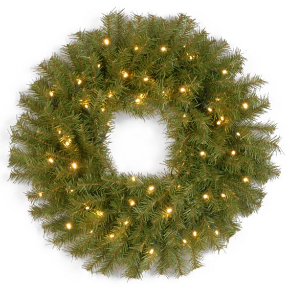 """National Tree Company 30"""" Norwood Fir Wreath with 100 Battery Operated LED Lights"""