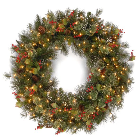 """National Tree Company 48"""" Wintry Pinw Wreath with 200 Clear Lights"""