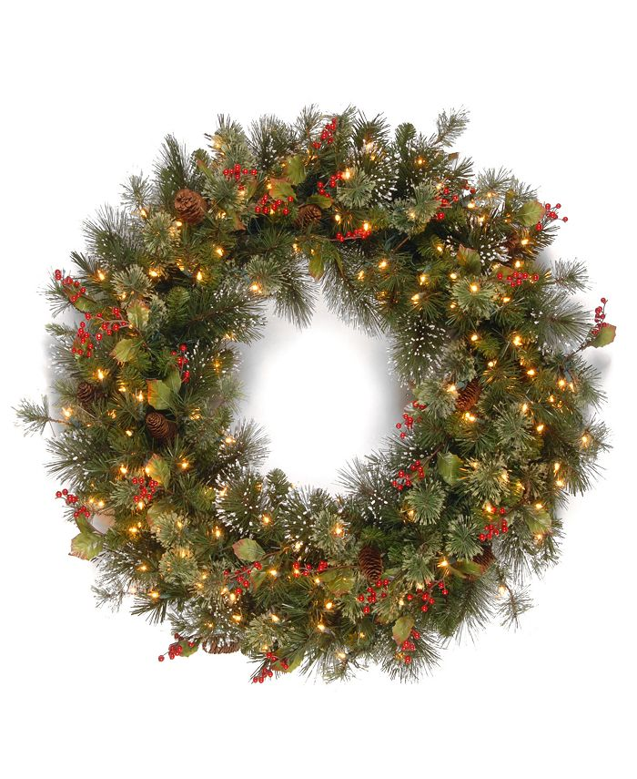 "National Tree Company - 48"" Wintry Pinw Wreath with 200 Clear Lights"