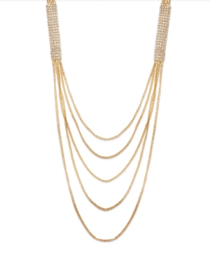 Bar III Necklace, Gold Tone Chain and Crystal Necklace