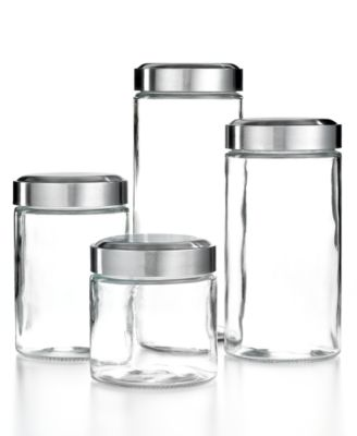 Martha Stewart Collection Glass Food Storage Containers, Set of 4 Canisters