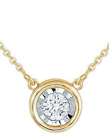 "Diamond Bezel 18"" Pendant Necklace (1/8 ct. t.w.)"