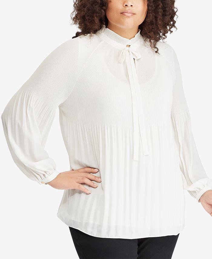 Lauren Ralph Lauren - Plus Size Tie-Neck Georgette Top