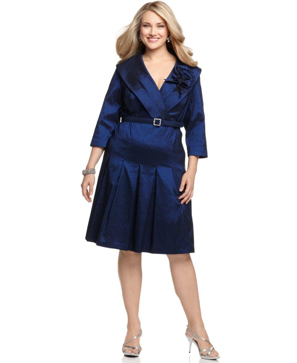 Jessica Howard Plus Size Dress, Three Quarter Sleeve Belted Portrait