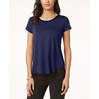 Alfani Satin-Trim High-Low T-Shirt