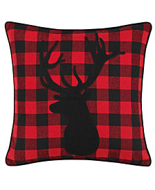 Eddie Bauer Cabin Plaid Stag Head Decorative Pillow