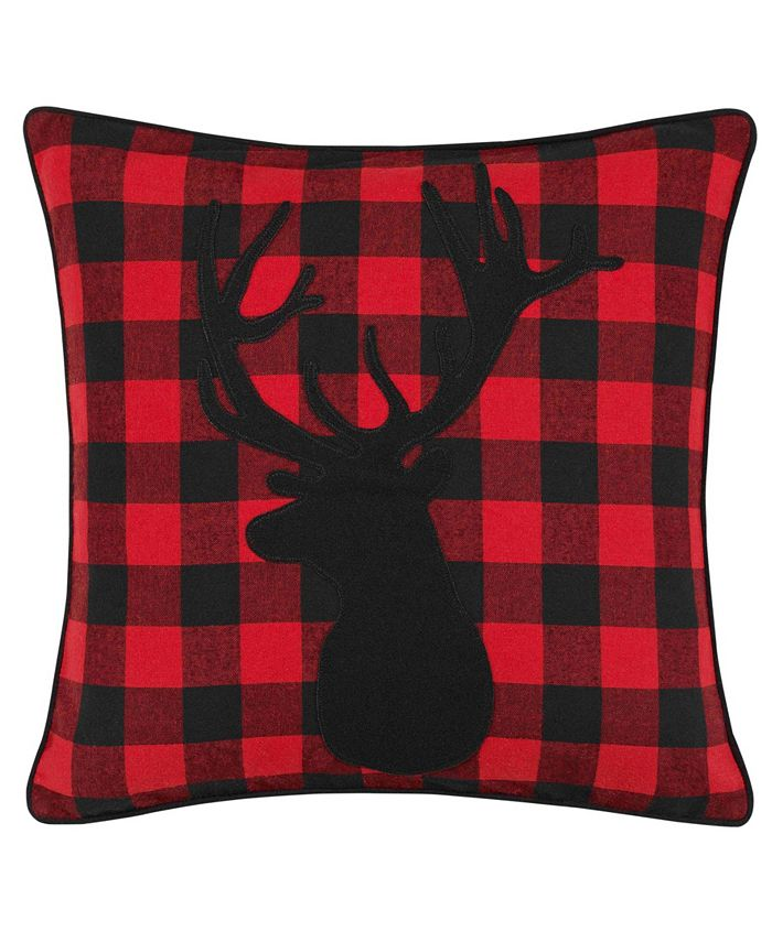 Eddie Bauer - Cabin Plaid Stag Head Decorative Pillow