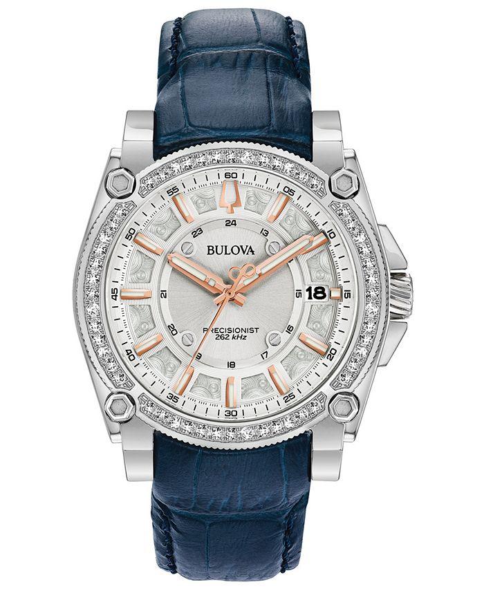 Bulova - Women's Precisionist Diamond (3/4 ct. t.w.) Blue Leather Strap Watch 40mm