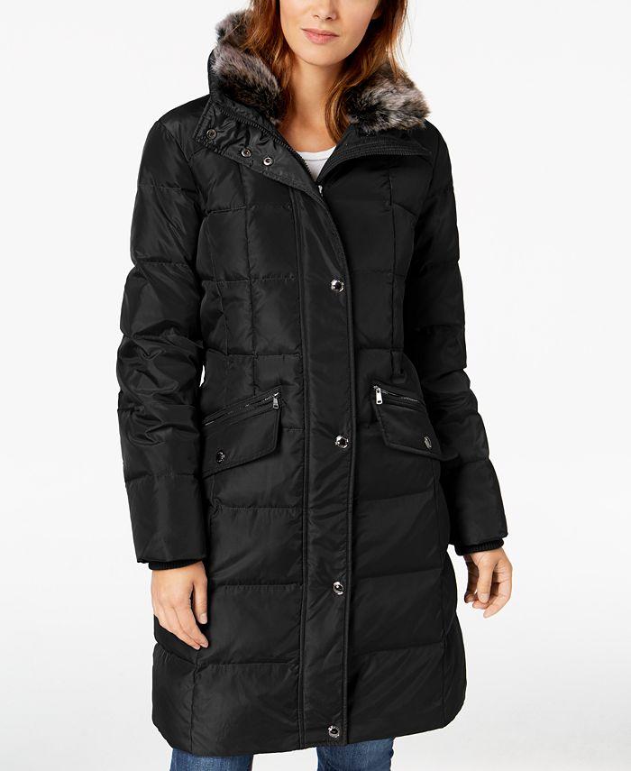 London Fog - Hooded Faux-Fur-Trim Puffer Coat