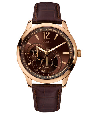 guess s brown leather 45mm u10627g1