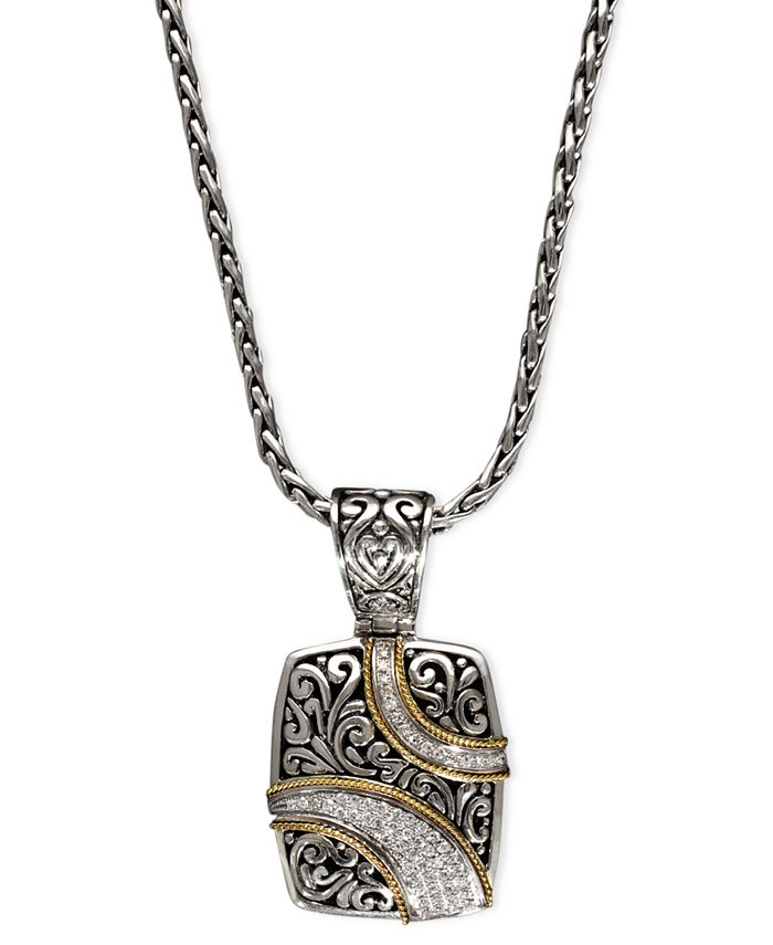 EFFY Collection - Diamond Ribbon Pendant (1/4 ct. t.w.) in 18k Gold and Sterling Silver