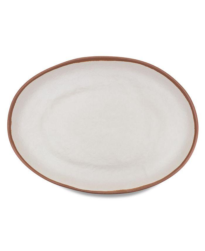 "Q Squared - Potter Terracotta 18"" x 13"" Melaboo Oval Platter"