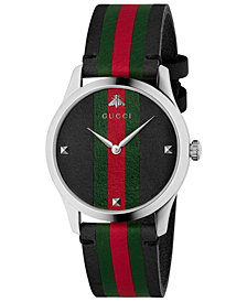 Gucci Men's Swiss G-Timeless Black Leather with Green-Red-Green Web Strap Watch 38mm