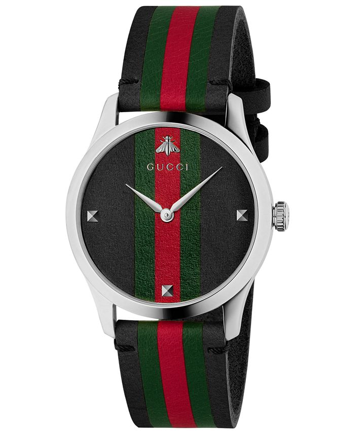 Gucci - Men's Swiss G-Timeless Black, Green & Red Leather Strap Watch 38mm