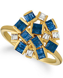 Le Vian® Baguette Frenzy™ Blueberry Sapphires™ (1 1/5 cttw) and Nude Diamonds™ (1/8 cttw) Ring set in 14k gold
