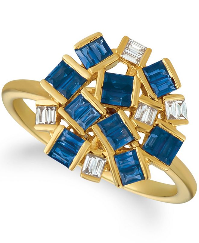 Le Vian Baguette Frenzy™ Blueberry Sapphires™ (1 1/5 cttw) and Nude Diamonds™ (1/8 cttw) Ring set in 14k gold