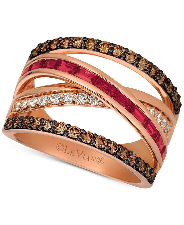 Le Vian - Certified Ruby (3/4 ct. t.w.) and Diamond (7/8 ct. t.w.) Ring in 14K Rose Gold