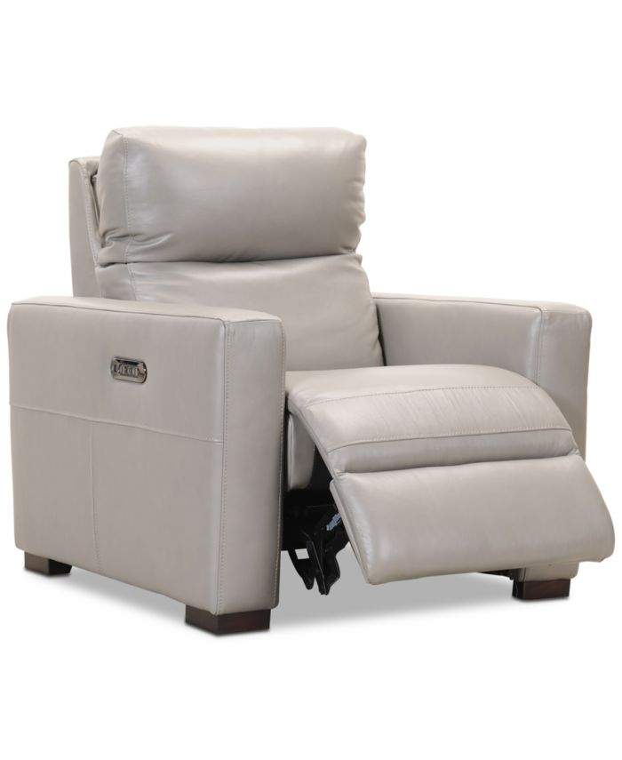 """Furniture CLOSEOUT! Clynton 36"""" Leather Dual Power Recliner with USB Power Outlet & Reviews - Recliners - Furniture - Macy's"""
