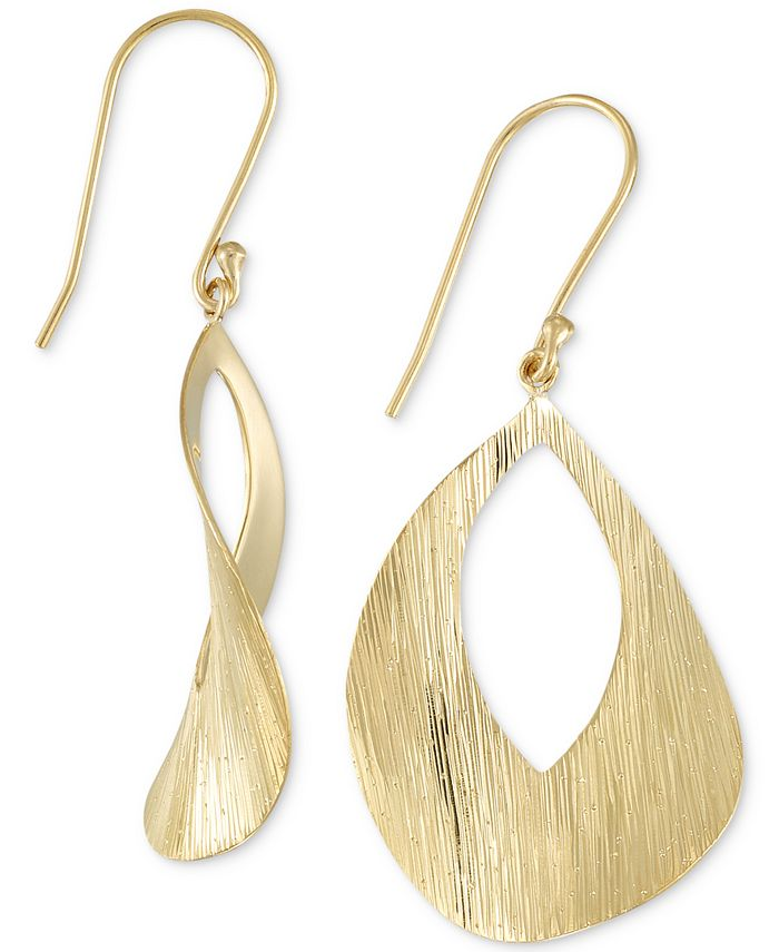 Simone I. Smith - Textured Drop Earrings in 18k Gold over Sterling Silver