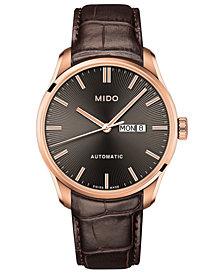 Mido Men's Swiss Automatic Belluna II Brown Leather Strap Watch 42.5mm