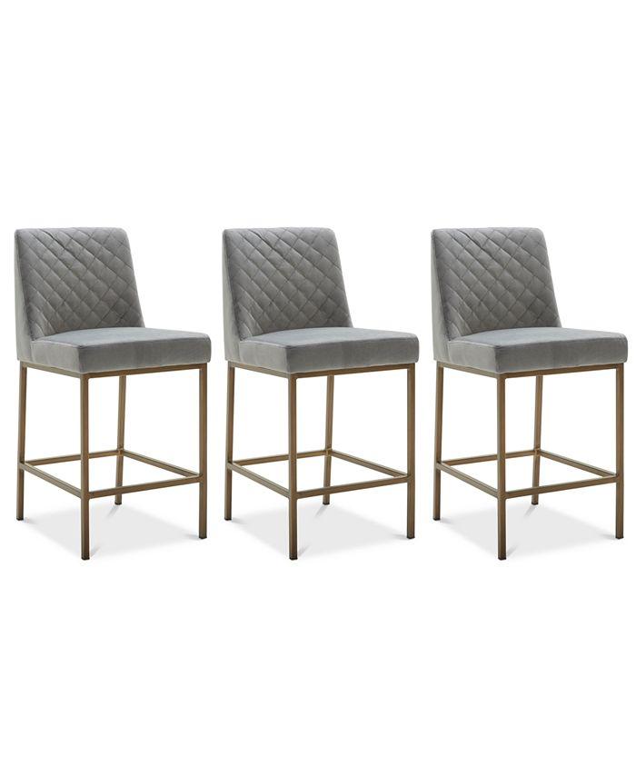 Furniture - Cambridge Velvet Stool, 3-Pc. Set (3 Grey Counter Stools)
