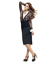 INC International Concepts Long Sleeve Printed Layered Look Top & Seamed Waist Pencil Skirt