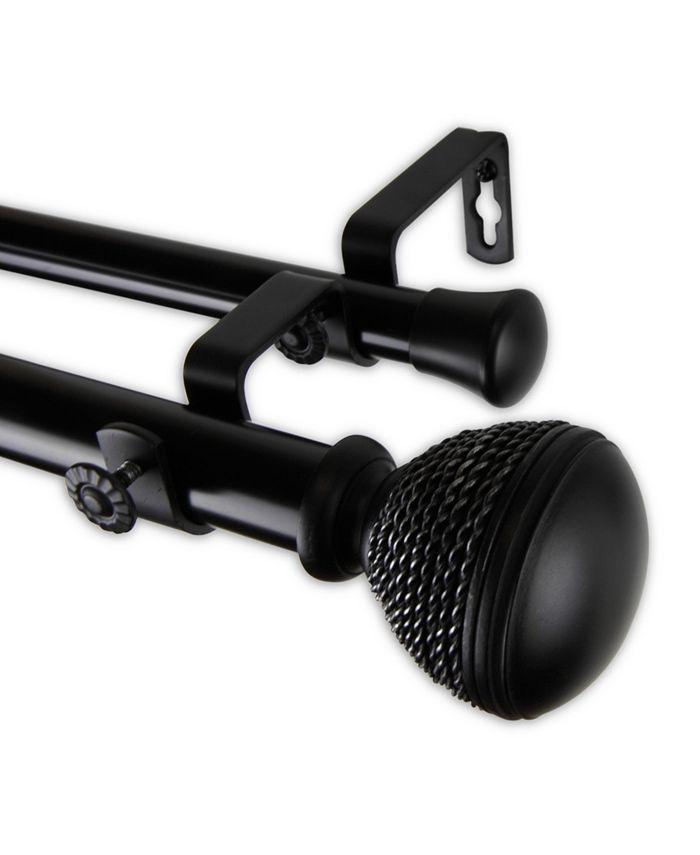 "Rod Desyne - Braided Double Curtain Rod 1"" OD 66-120 inch - Black"