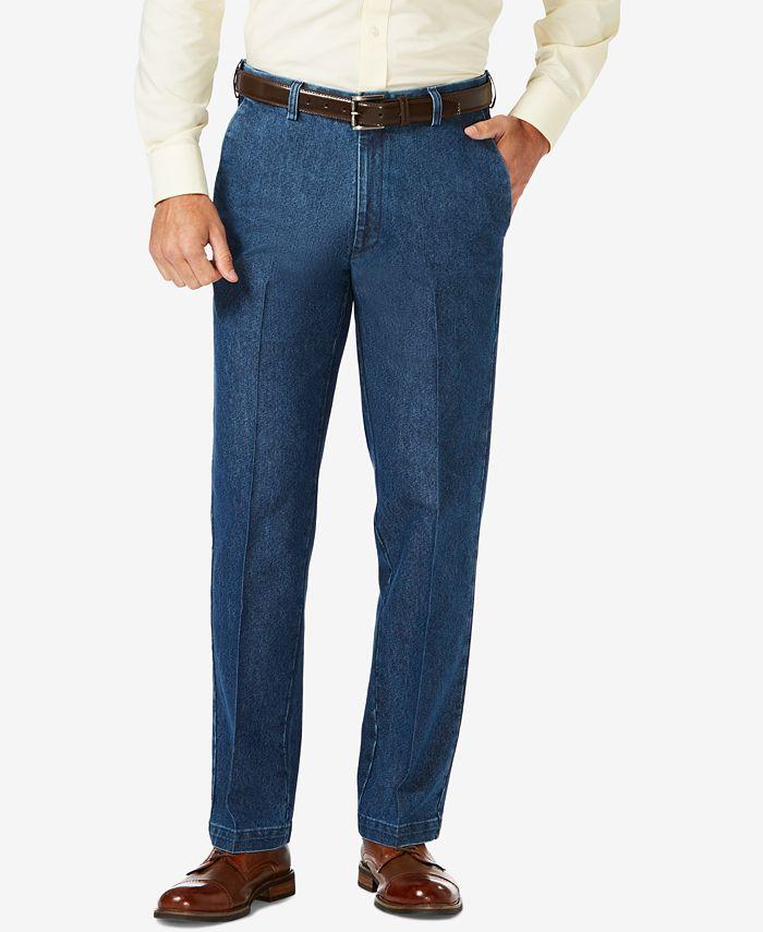 Haggar - Men's Stretch Denim Classic-Fit Flat Front Pants