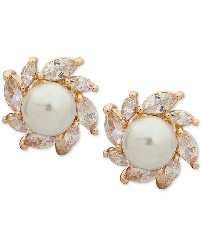 Anne Klein - Gold-Tone Crystal & Imitation Pearl Clip-On Halo Stud Earrings