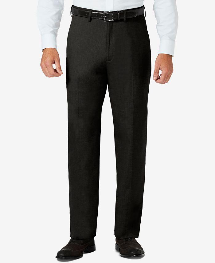 Haggar - Men's Sharkskin Classic-Fit Flat Front Hidden Expandable Waistband Dress Pants
