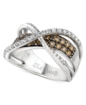 Le Vian Diamond Ring, 14k White Gold White and Chocolate Diamond Crossover Ring (1-1/4 ct. t.w.)