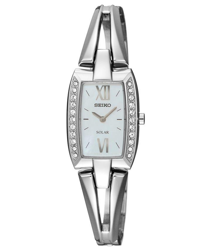 Seiko - Watch, Women's Solar Stainless Steel Bangle Bracelet 19mm SUP083