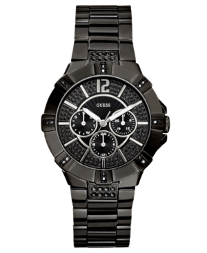 GUESS Watch, Women's Chronograph Black Ion Plated Stainless Steel Bracelet 41mm U13620L1