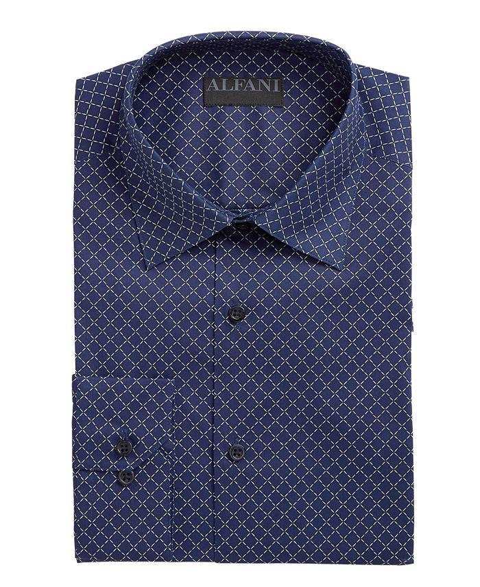 Alfani - Men's Alfa Tech Classic/Regular Fit Performance Stretch Tonal Diamond Print Dress Shirt