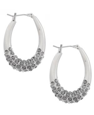 Kenneth Cole New York Earrings, Silver Tone Oval Hoop Earrings