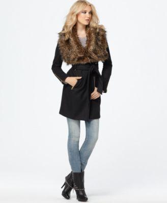 Buffalo Jeans Coat, Jackie Belted Faux Fur