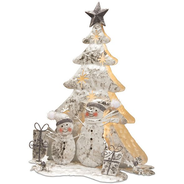 "National Tree Company National Tree 16"" Lighted Tree Snowman Scene"