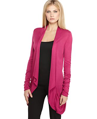 Calvin Klein Sweater, Open Front Long Sleeve Pocket Draped Cardigan