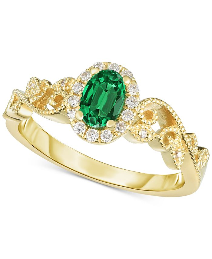 Macy's - Gemstone & Diamond (1/8 ct. t.w.) Ring in 14k Gold