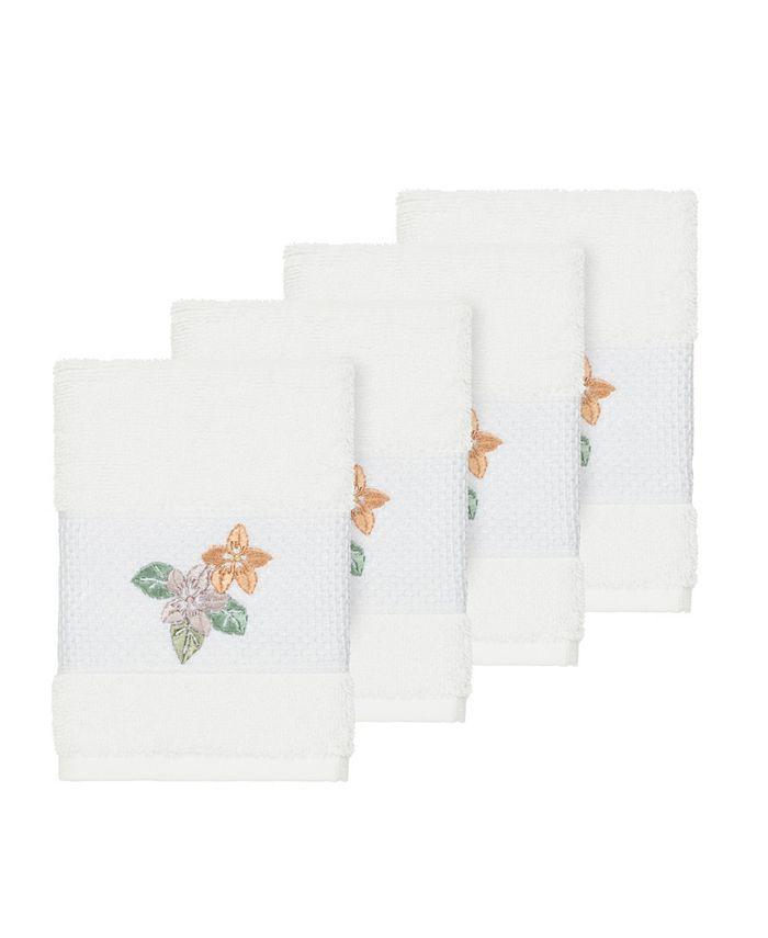 Linum Home - Caroline 4-Pc. Embroidered Turkish Cotton Washcloth Set