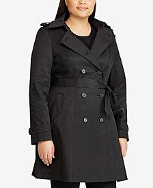 Lauren Ralph Lauren Plus Size Double Breasted Trench Coat, Created for Macy's