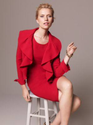 Kasper Suit, Long Sleeve Ruffled Jacket & Sheath Dress