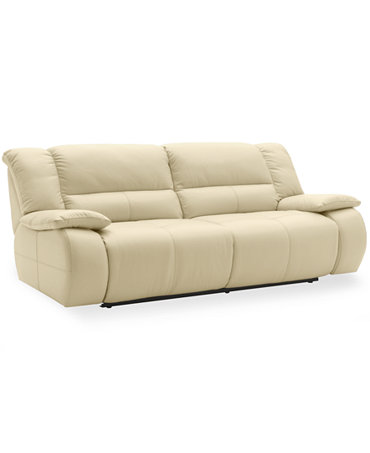 Franco leather reclining sofa double power recliner 86quotw for Macy s reclining sectional sofa