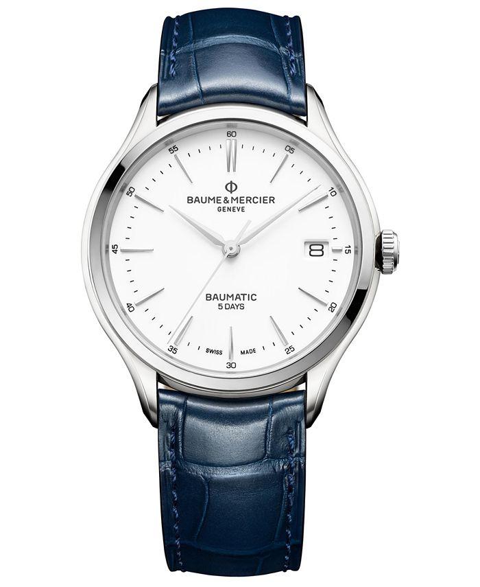 Baume & Mercier - Men's Swiss Automatic Clifton Baumatic Blue Alligator Leather Strap Watch 40mm