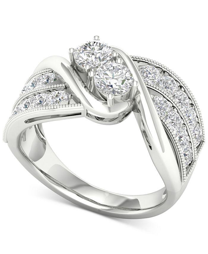 Macy's - Diamond Two-Stone Swirl Engagement Ring (1-1/2 ct. t.w.) in 14k White Gold