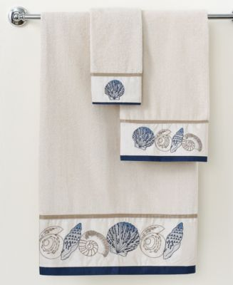 "CLOSEOUT! Avanti Bath Towels, Hampton Shells 16"" x 30"" Hand Towel"