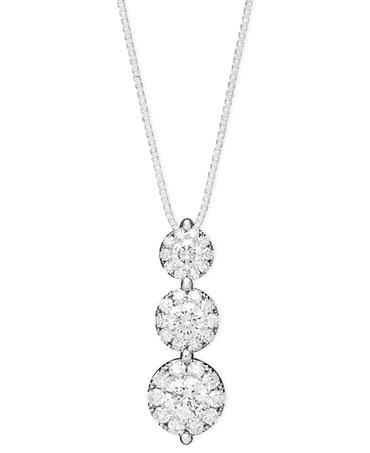 Prestige Unity Diamond Three-Stone Drop Pendant Necklace